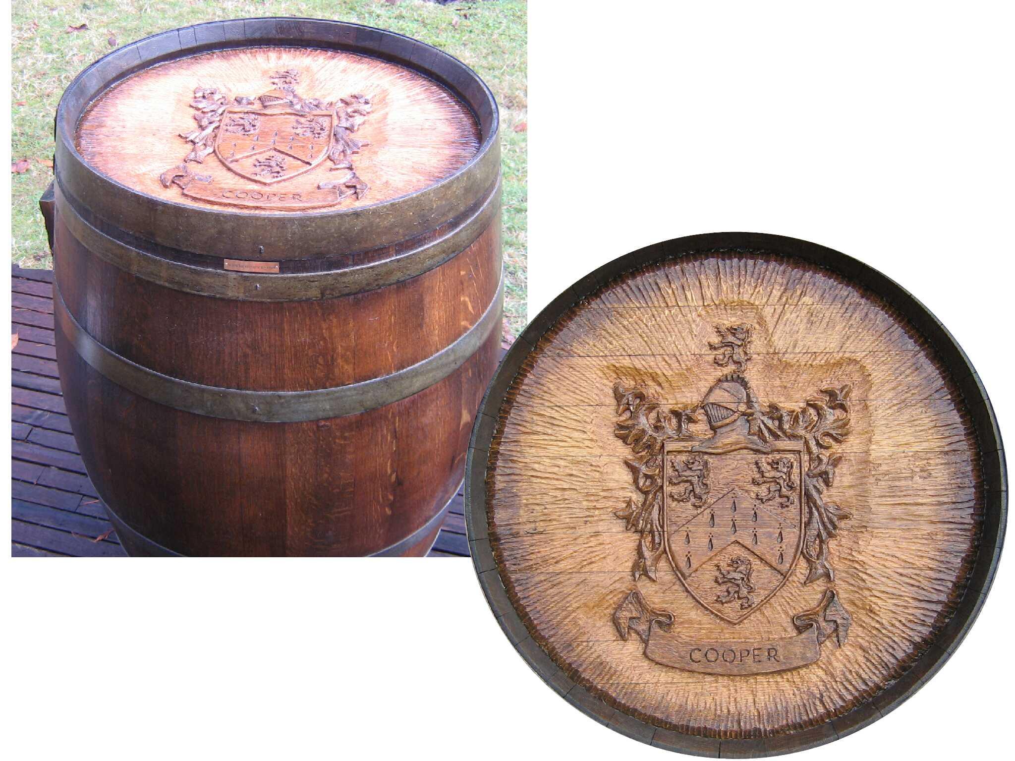Wine Barrel Carvings for Wine Tasting Tables