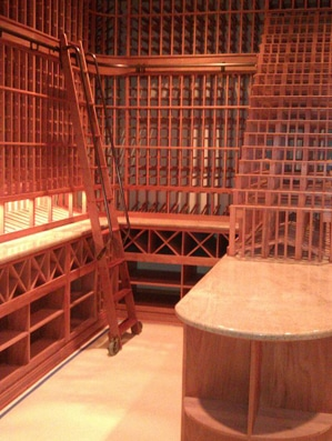 Wine Cellar Construction - Wine Racks in All Heart Redwood and a Rolling Ladder