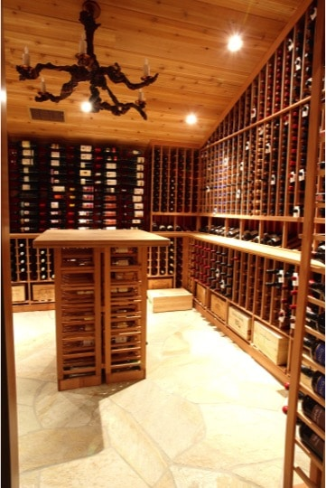 Southern California Custom Home Wine Cellar and Tasting Room