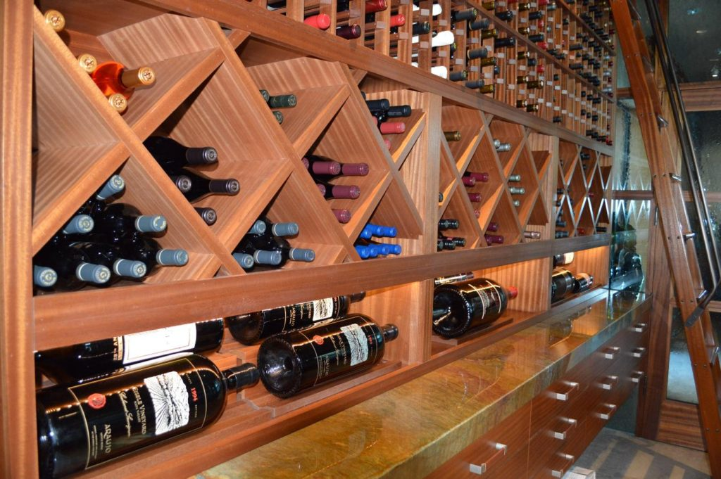 Sapele Mahogany Wooden Wine Racks Los Angeles Wine Cellar Design