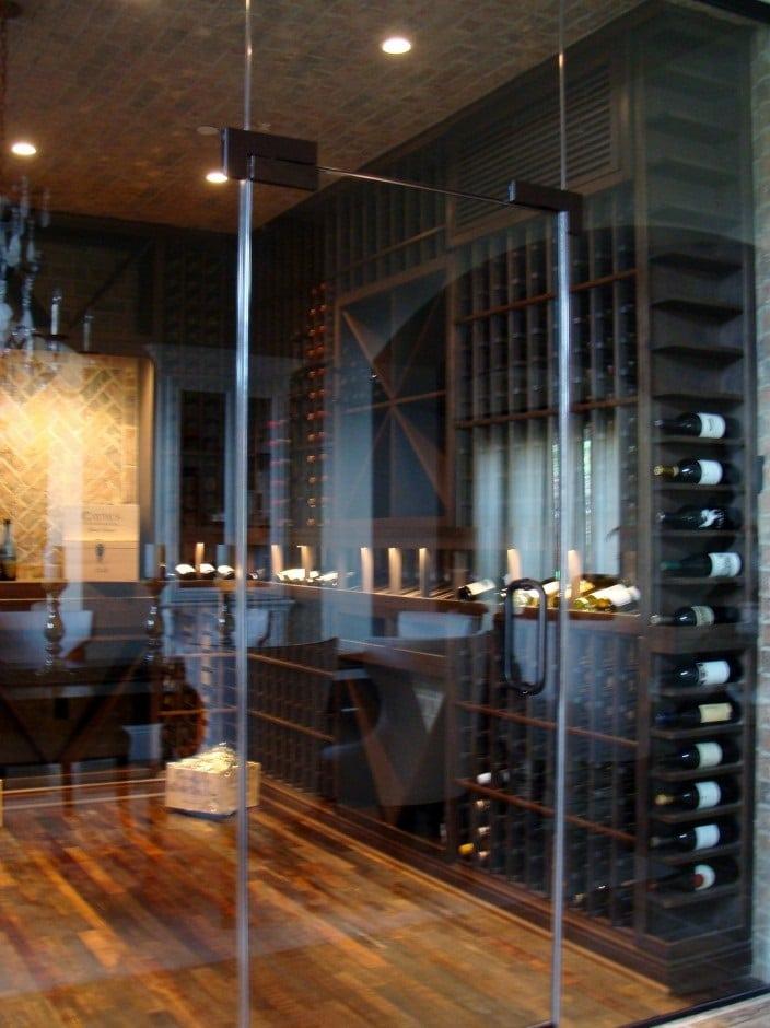 Herculite Glass Door Dual Pane Custom Wine Cellar Los Angeles
