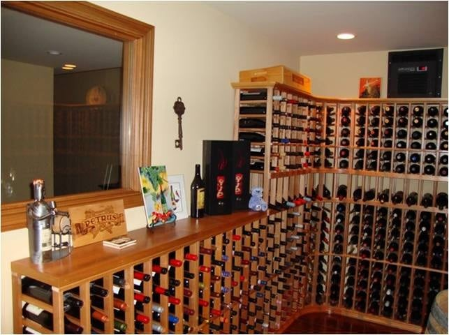 Traditional Custom Wine Racks Designed for a Small Basement Wine Cellar