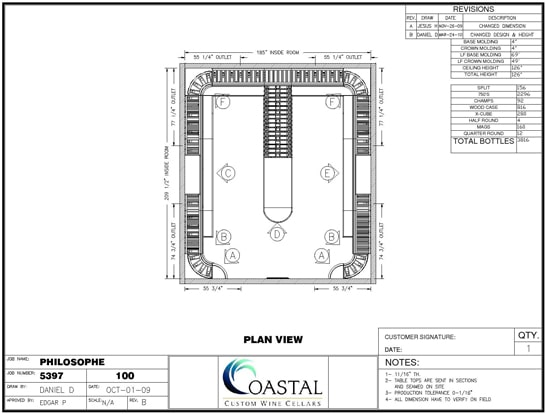 3D Image Plan View Custom Wine Cellar Refrigeration Project Los Angeles