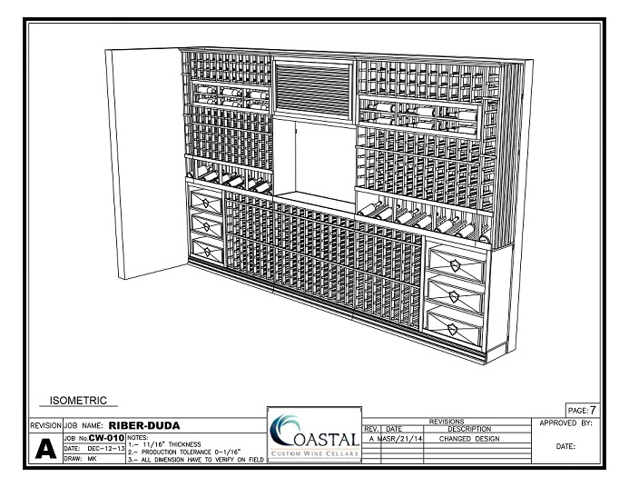 CAD Drawing Residential Wine Cellar Design by Coastal Custom Wine Cellars