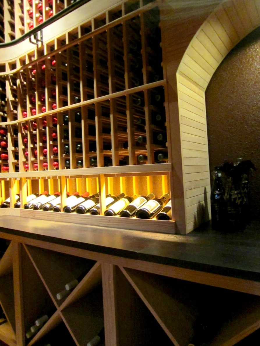 Back Wall of Home Wine Cellar by Los Angeles Builders