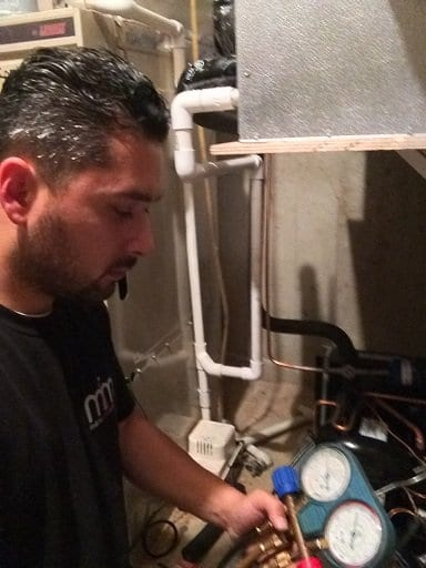 Charging the Wine Cooling System with Freon by M&M Cellar Systems Los Angeles