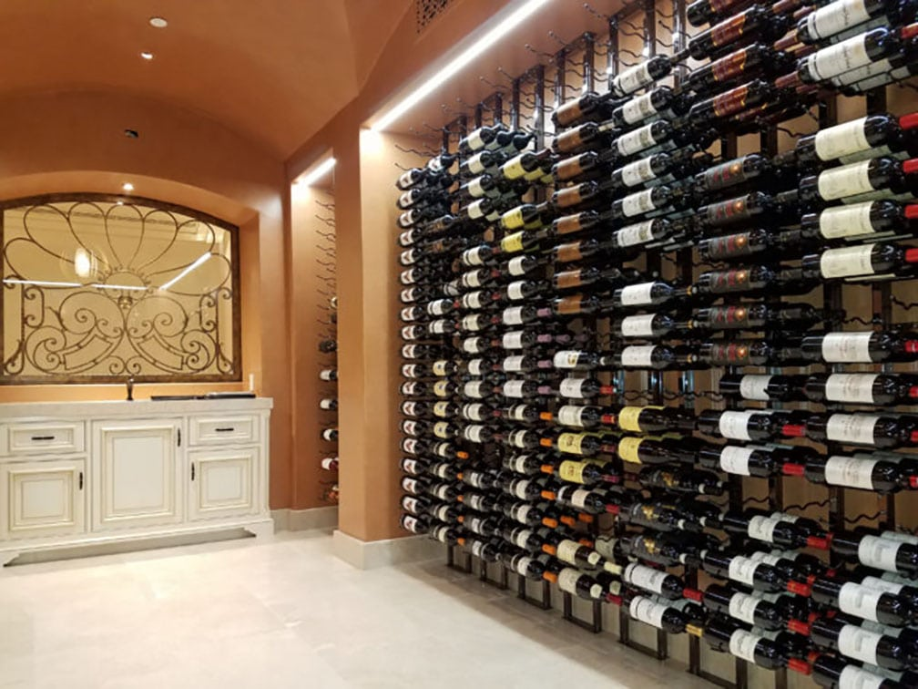 Irvine Project Floor to Ceiling Metal Racking Design & Striking Wine Cellar in Irvine with Floor to Ceiling Metal Wine Racks