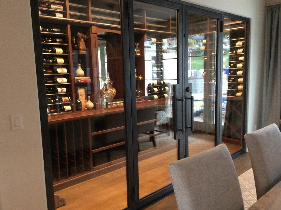 Small Home Wine Cellar Orange County with Glass Door