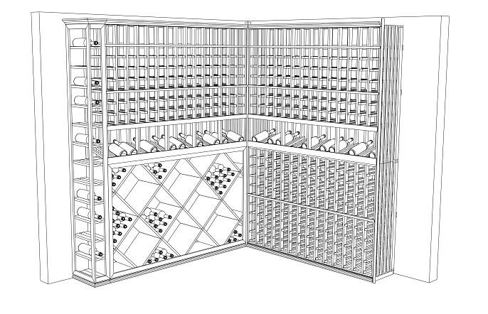 Beautiful CAD Drawing of the Los Angeles Custom Home Wine Cellar