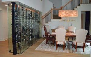 Glass Wall Wine Cellar Display Residential Los Angeles California Designs