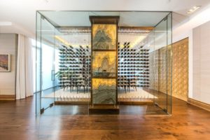 Los Angeles High Tech Contemporary Cable Wine Display Glass Cellar Custom Designs
