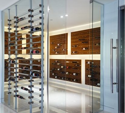 Contemporary Wine Racks Transformed a Large Room Into a Luxurious Home Wine Cellar
