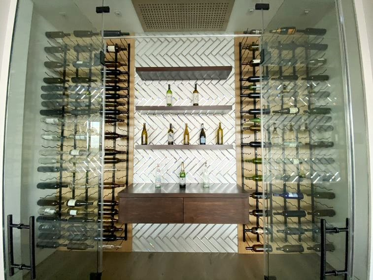 Elegant Glass Custom Wine Cellar Built by Los Angeles Master Builders