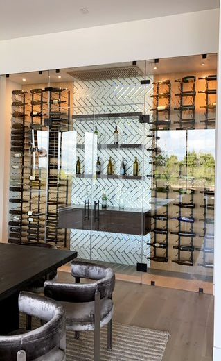 Glass Wine Cellar Designed for a Modern Home by Los Angeles Experts