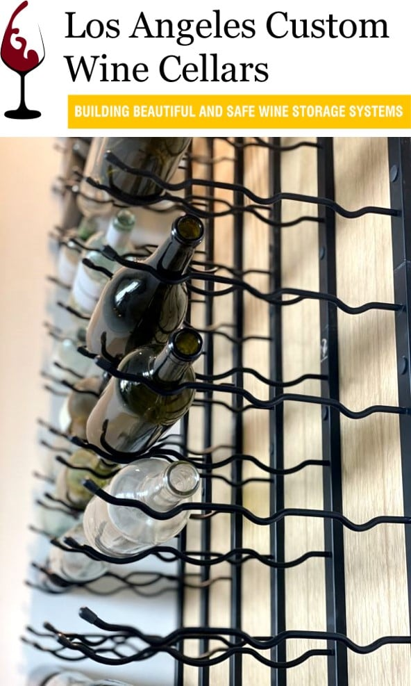 Metal Wine Racks Installed in a Glass Wine Cellar Los Angeles
