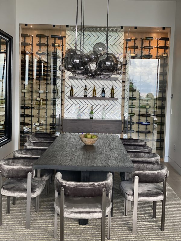 Modern Glass Closet Wine Cellar Los Angeles with Metal and Wood Wine Racks