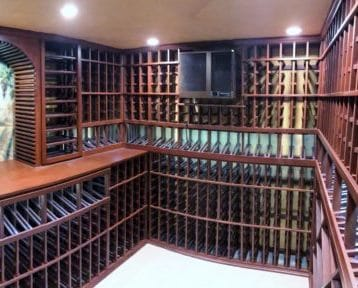 Los Angeles Residential Wine Room Equipped with a WhisperKOOL Wine Cellar Cooling Unit