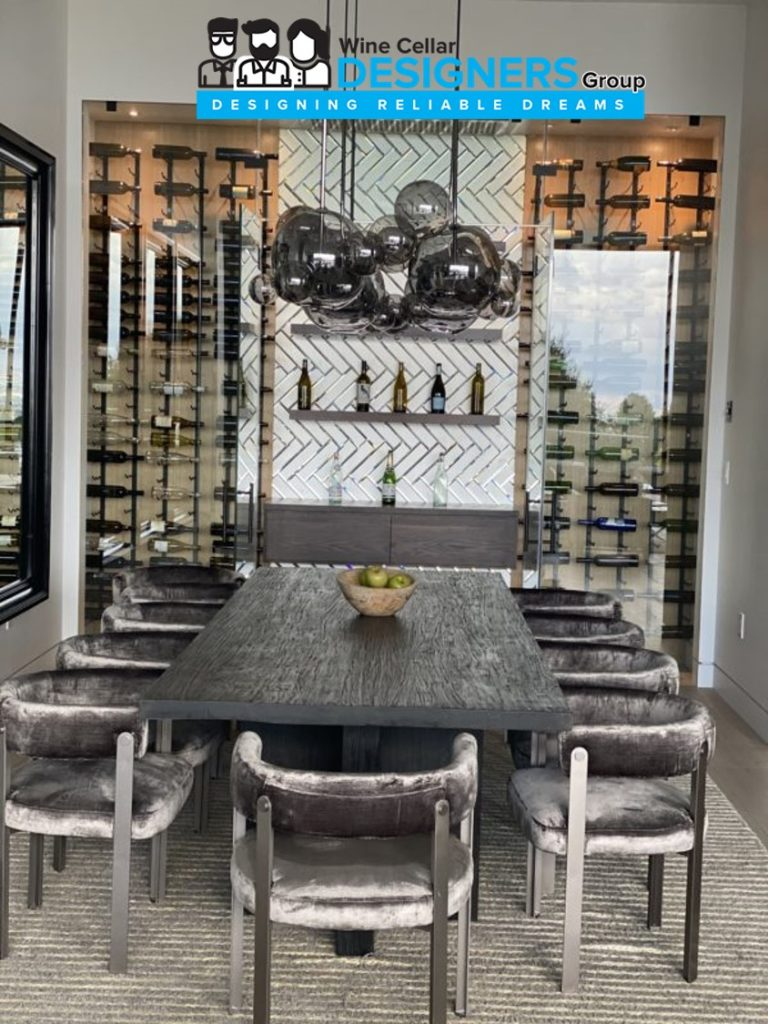 Luxury Custom Home Wine Cellar with a Glass Door