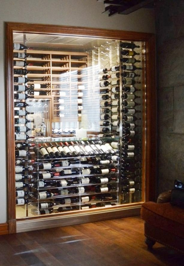 Contemporary Wine Cellars with Glass Doors and Custom Metal Wine RacksV