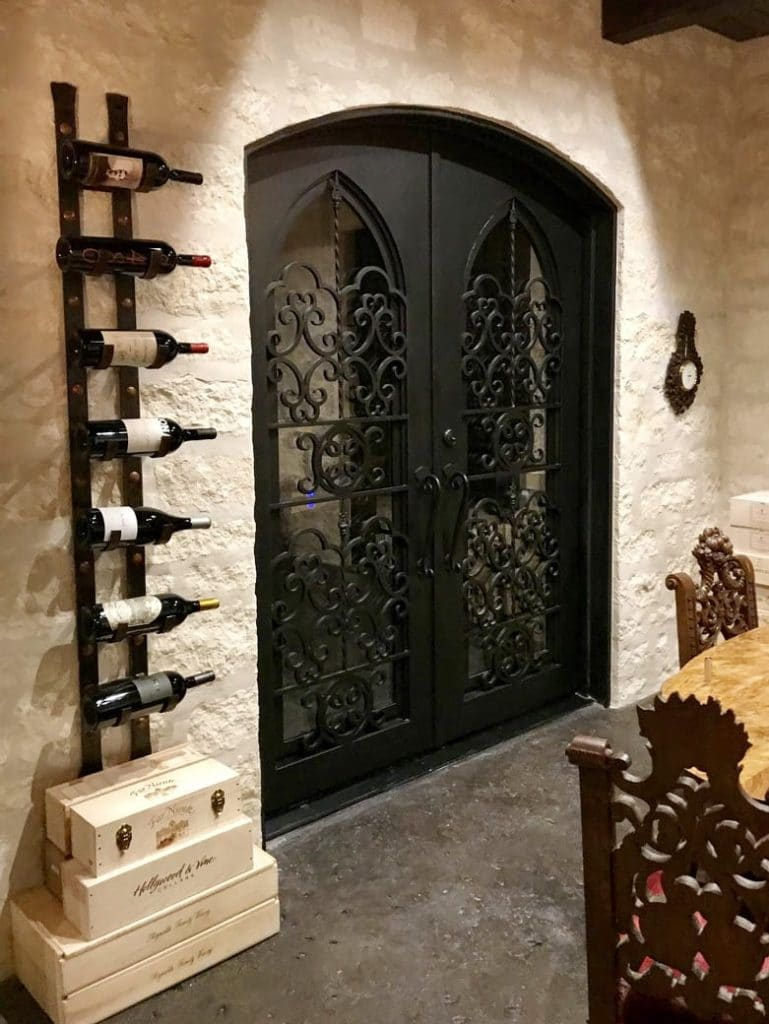 Double Wrought Iron Custom Wine Cellar Doors