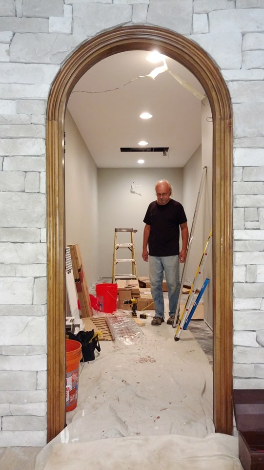 Ongoing Construction Home Custom Wine Cellar Project by Wine Cellar Specialists in Los Angeles