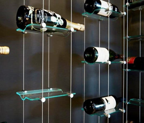 Contemporary Wine Racks Floating Cable and Glass Los Angeles installers of Modern Wine Rooms