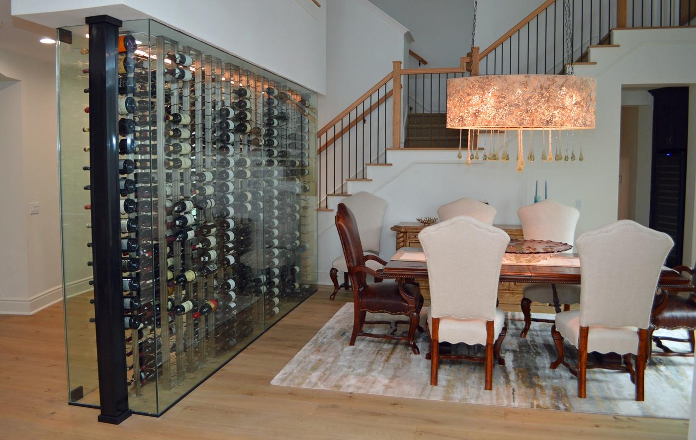 A Stunning Modern Glass Residential Wine Cellar In A Manhattan Beach Home