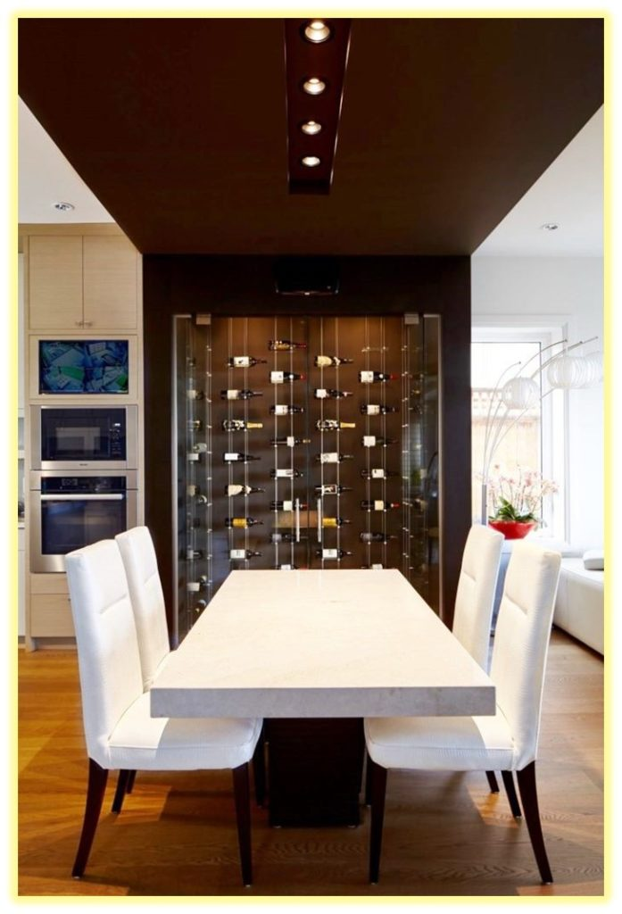 Modern Wine Room in the Dining Area Designed with a Floating Wine Rack System