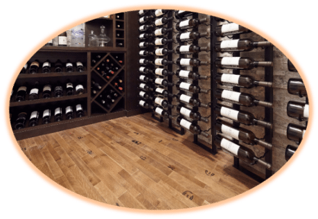 Wine Barrel Flooring was the Perfect Choice for the Small Basement Wine Cellar