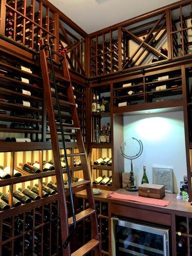 Custom Home Wine Cellar with Traditional Wood Wine Racks