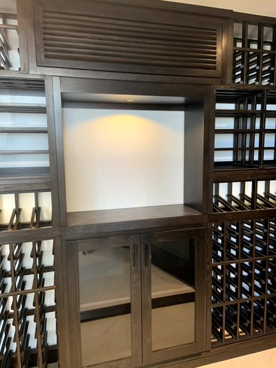 We Hid the Cooling Unit Evaporator At the Top Section of the Custom Wine Racks on the Back Wall Glass Wine cellar Project Los Angeles