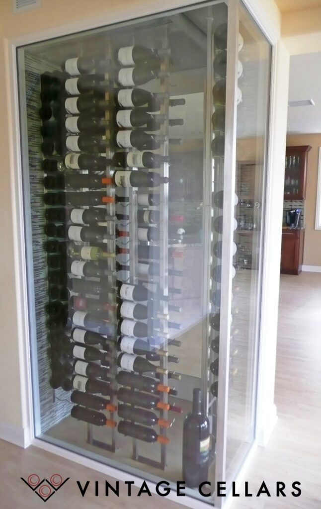 Glass Enclosed Contemporary Custom Wine Cellar in a Home