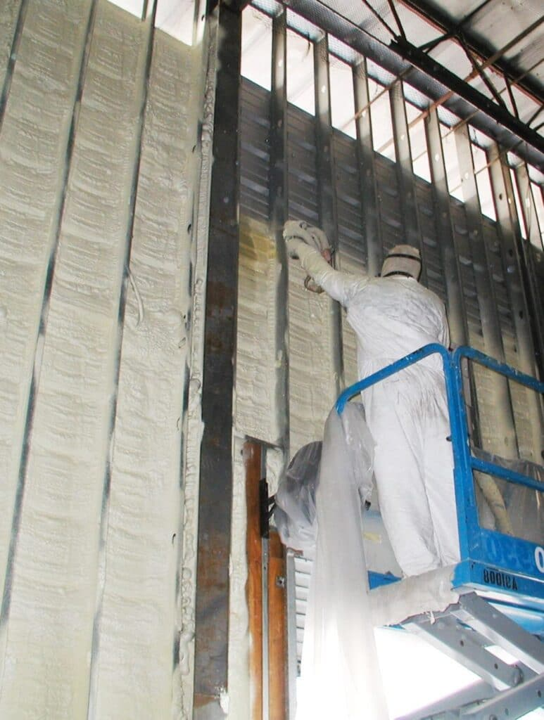Closed Cell Spray Foam Insulation Before the Construction of the Refrigerated Wine Cellar