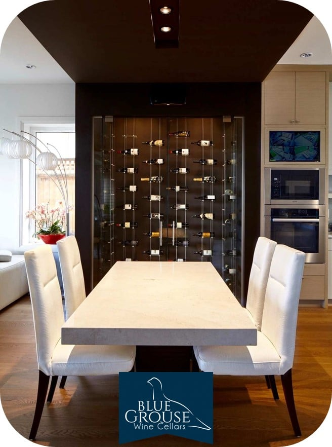 Floating Custom Wine Cellar Racks Designed for a Home by Blue Grouse Wine Cellars