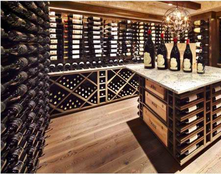 Contemporary Wine Racks Mixed with Wood Racking for Maximum Storage Capacity