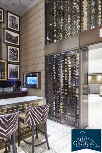 A Magnificent Refrigerated Commercial Wine Cellar with Contemporary Wine Racks