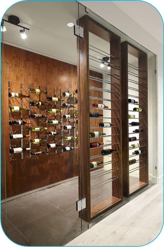 Custom Wine Cellar with Modern Wine Racks