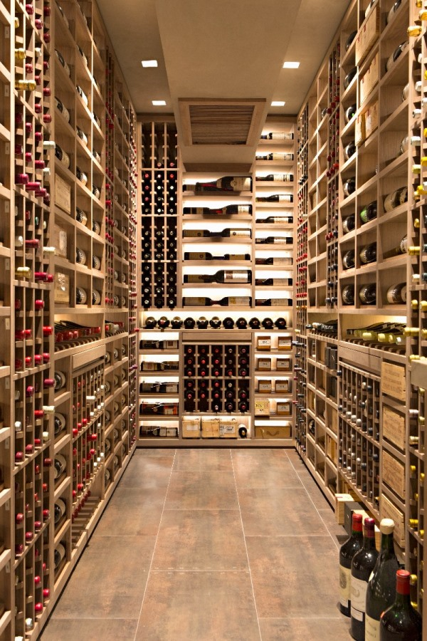 Contemporary Wine Cellar Racks Mixed with Wood