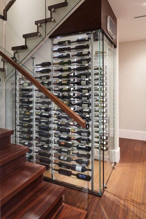 Modern Glass Wine Room with Minimalist Contemporary Wine Cellar Racks