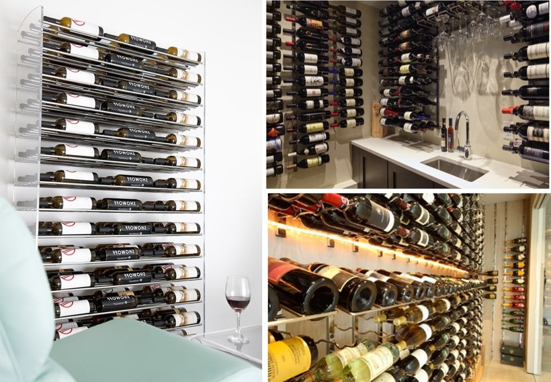 We Design and Install Contemporary Wine Racks for Home Wine Cellars