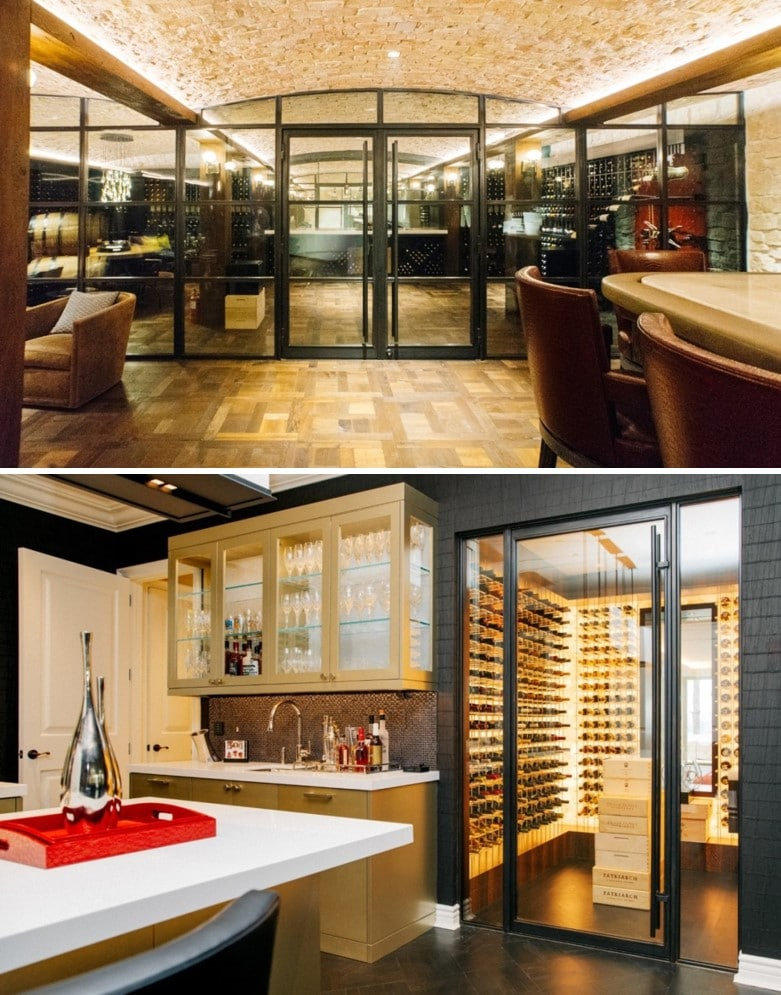Double Glass Wine Cellars with Contemporary Wine Racks