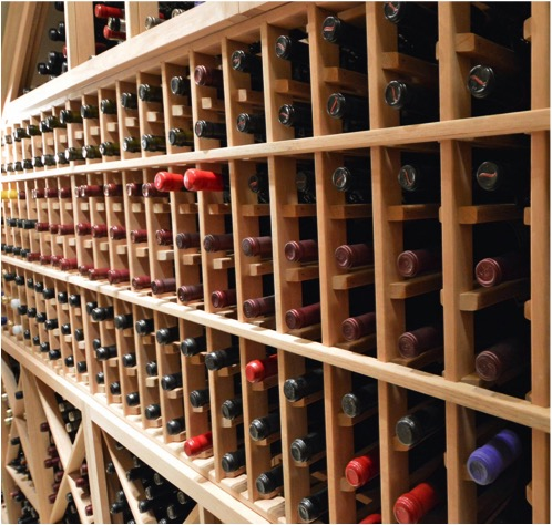 Wine Racks Made from Unfinished Redwood
