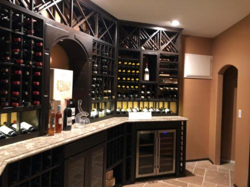 california basement wine cellar marble counter