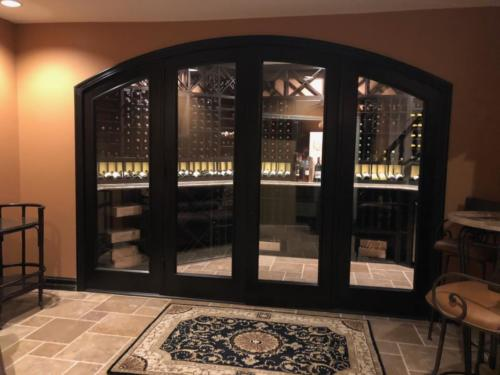 glass walls and doors basement wine cellar