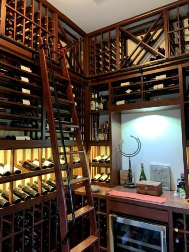 los angeles traditional wine closet ladder