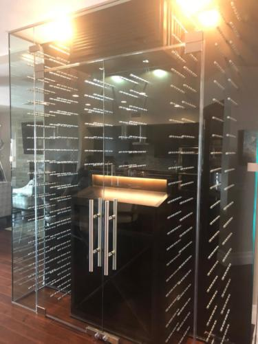 modern los angeles glass wine closet metal peg racking