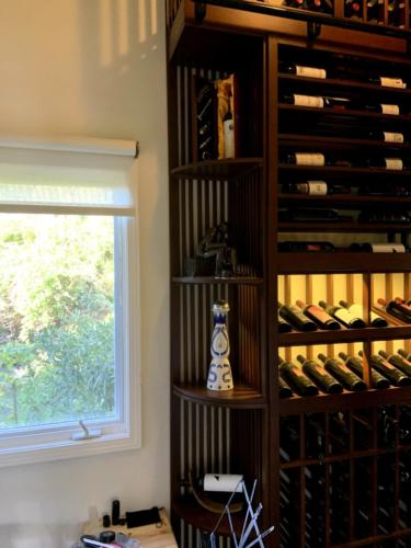 traditional california wine closet corner display
