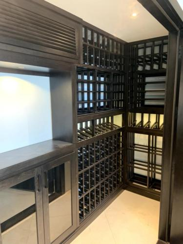 wooden wine racking corner display los angeles